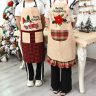 Cartoon Grid Christmas Flower Car Pattern Apron Dress Holiday Clothes Pinafore