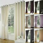 Luxury Faux Silk Slubbed Curtains Pair Eyelet Ring Top Lined With Tiebacks Set