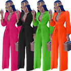 Women Solid Color Turn Down Collar Long Sleeves Wide Legs Belted Casual Jumpsuit