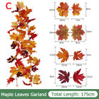 1.8M Artificial Autumn Maple Leaves Garland Hanging Plant Home Halloween Decor