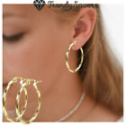 14k Gold Plated Twisted Small Hoop Earrings Pair Jewelry Fashion For Women Girls