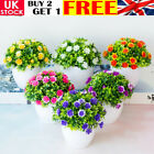 Artificial Potted Flowers Fake False Plants Outdoor Garden Home In Pot Decor D1