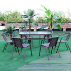Garden Patio Furniture Set 4/6 Pcs Stacking Chairs + Glass Table Parasol Hole Uk