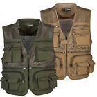 Men Outdoor Multi Pocket Vest Travelers Fly Fishing Camping Quick-Dry Jacket