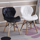 'Eiffel Dining Chairs Wooden Legs Faux Leather Padded Seat Office Desk Home Chair