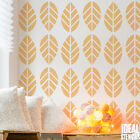 Bold Leaf Pattern Wall Stencil Home Decor Paint Fabrics Furniture Craft Reusable