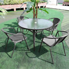 Garden Outdoor Furniture Set Glass Round Table 4 Seater Chairs Coffee Patio Hole