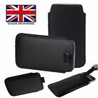 Black Leather Slim Pull Tab Phone Cover Pocket Pouch - Energizer Ultimate U620S