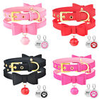 PU Leather Bowtie Cat Collar Bell Personalized Dog ID Tag Necklace Adjustable