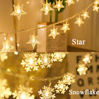 Christmas LED Snowflake Star String Lights Battery Operated Hanging Ornaments