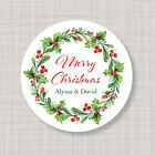 Custom Personalized Round Christmas Holiday Berry Greenery Labels Stickers