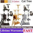 Cat Tree Floor to Ceiling High Scratching Post Tower Activity Centre Grey Brown