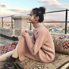 Women High Neck Over Knee Knitted Sweater Dress Loose Thick Warm Long Tops Chic