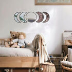 5pcs Bedroom Nordic Style Wooden Decorative Mirror Moon Phase Acrylic Durable