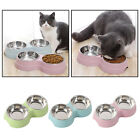 Double Small Cat Puppy Animal Bowls Mat Twin Dish Water Food Station Bowl