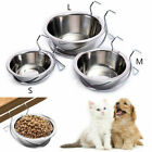 Pet Dog Puppy Cat Feeding Food Hanging Bowl Water Feeding Stainless Steel Silver