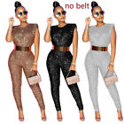 2021 Fashion Women's Sequin Patchwork Sleeveless Bodycon Jumpsuit Club Party