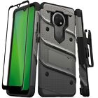 For Cricket Ovation/Radiant Max Hybrid Case w/Tempered Glass,Kickstand & Holster