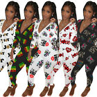 Fashion Women Printed Deep V Neck Long Sleeve Casual Club Long Homewear Jumpsuit