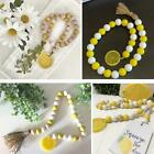 New Wood Bead Garland With Lemon Tassels Farmhouse Vintage Home Country Decor