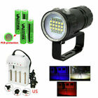 White Blue Red LED Scuba Flashlight Underwater Photography Video Torch Lamp Dive