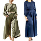 Women Jumpsuit Romper Long Sleeve Casual Playsuit Overalls Wide Leg Pants Outfit