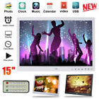 "15"" Digital Photo Frame Electronic Picture Video Player Movie Album HD Dispaly"