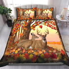 Deer Autumn Forest Bedding Set Covers For Hunting Lover For Family Or Best Gift