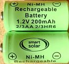 SOLAR LIGHT RECHARGEABLE BATTERIES AA 2/3AA AAA 1/3AAA SMART GARDEN <br/> **** Please Ensure to Check Sizes Before Ordering ****