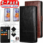 For LG Stylo 4/5/6 Phone Case Leather Wallet Holder Stand Cover w/Tempered Glass