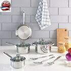 Stainless Steel 18, 10 Piece Pieces Cookware Sets, with Kitchen Tools Silver