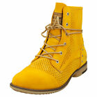 Mustang Side Zip Low Heel Womens Yellow Synthetic Ankle Boots
