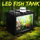 Arcylic Mini Fish Tank Aquarium LED Light Lamp Betta Feed Box Home Decor