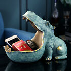 Resin Hippo Statue Hippopotamus Sculpture Figurine Key Candy Container Table