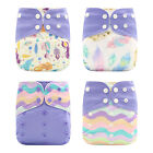 4pcs/set For Baby Boy Girl Reusable One Size Pocket Soft No Insert Cloth Diaper