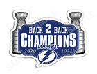 Tampa Bay Lightning 2021 Stanley Cup Back To Back Champions Sticker Hockey