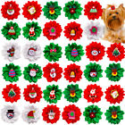 Christmas Dog Hair Bows with Rubber Bands for Puppy Medium Dog Snowman Dog Bows