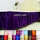 1 PC 19MM 100% SILK ELASTIC RUFFLED BED SKIRT DUST RUFFLE FULL QUEEN KING SIZE