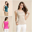 Women's Ladies 100% Pure Silk Casual Tank Top Blouse Shirt Tees Vest AF064