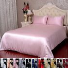3 pcs 19M/M Seamless 100% Pure Silk Flat Sheet Pillowcases Set AlL Size