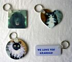 Personalised Keyring Inc 2 images/message Shape: Square/Round/Heart or Rectangle