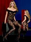 Bow Lace Bodystocking W/ Lace Trim & Convenience Crotch