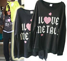 lt146 CELEBRITY Style I HEART Metal Loose & soft top