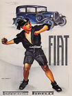 ITALY BOY SHOOTING STONE FIAT CAR ITALIAN AUTOMOBILE VINTAGE POSTER REPRO