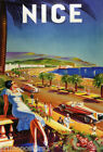NICE FASHION GIRL BEACH CAR CASINO TRAVEL TOURISM FRENCH VINTAGE POSTER REPRO