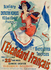 CHERET L'ETENDARD FRANCAIS BICYCLE GIRL RIDING BIKE FRENCH VINTAGE POSTER REPRO