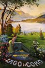 ITALY  LADY CONTEMPLATING LAGO DI COMO LAKE SUMMER TRAVEL VINTAGE POSTER REPRO