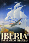 IBERIA SPANISH AIRLINE PLANE SHIP AROUND THE WORLD TRAVEL VINTAGE POSTER REPRO