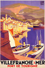 FRENCH TOURISM VILLEFRANCHE RIVIERA SAILBOAT FRANCE TRAVEL VINTAGE POSTER REPRO