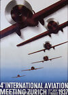 AIRPLANE AVIATION MEETING ZURICH SWITZERLAND 1937 TRAVEL VINTAGE POSTER REPRO
